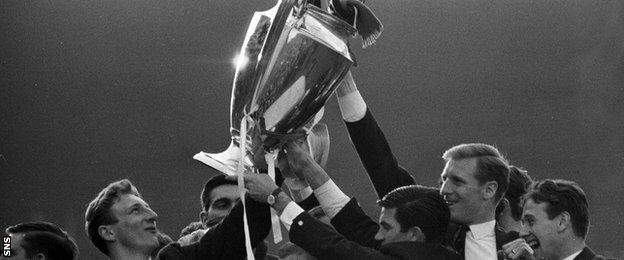 The Celtic players celebrate with the European Cup in 1967