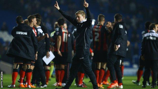Bournemouth manager Eddie Howe salutes the fans after the 2-0 win at Brighton