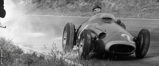 Juan Manuel Fangio at his favoured hunting ground - Monza