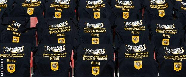 T-shirts left for Hull City fans at Southampton