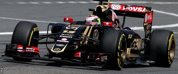Pastor Maldonado overshot the narrow China pit lane but managed to recover