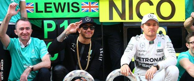 Lewis Hamilton celebrates winning the Chinese Grand Prix with his Mercedes team-mates