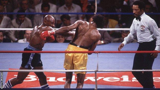 Marvin Hagler and Tommy Hearns