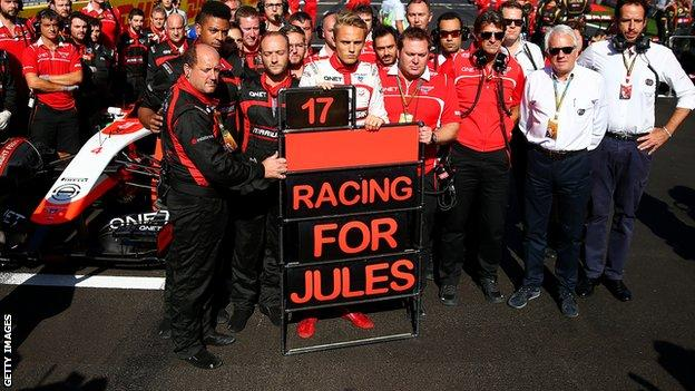 Marussia F1 team showing their support for Jules Bianchi