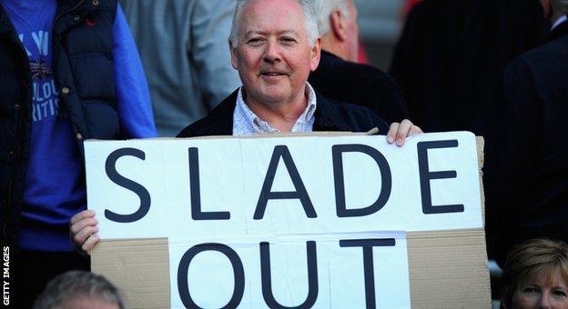 Cardiff City fan protests against manager Russell Slade at the home match against Bolton