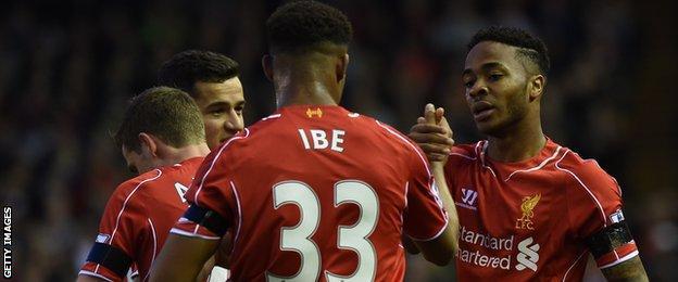 Jordon Ibe congratulates Raheem Sterling