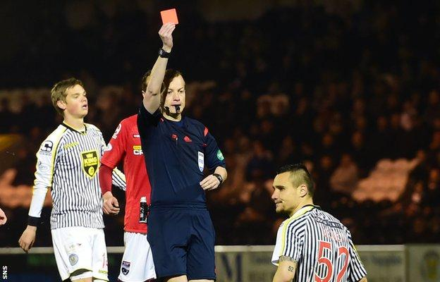 Viktor Genev is sent off by referee Willie Collum