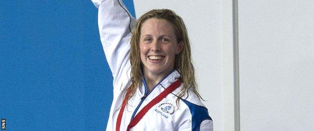 Hannah Miley celebrates after securing gold in the women's 400m individual medley in Glasgow 2014