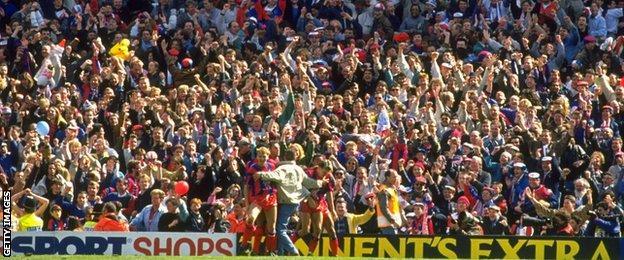 Crystal Palace fans celebrate Alan Pardew's winner