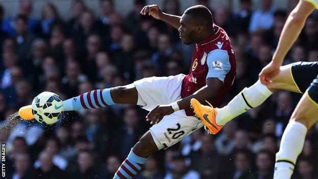 Christian Benteke in action for Aston Villa against Tottenham