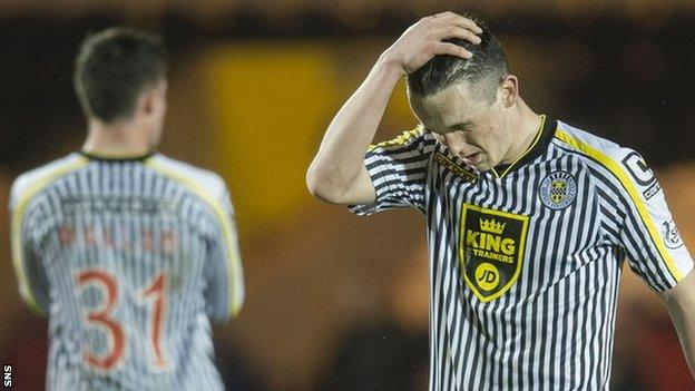 St Mirren players react after their 3-0 loss to Ross County