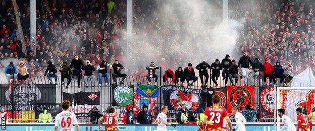 Spartak Moscow fans at Arsenal Tula