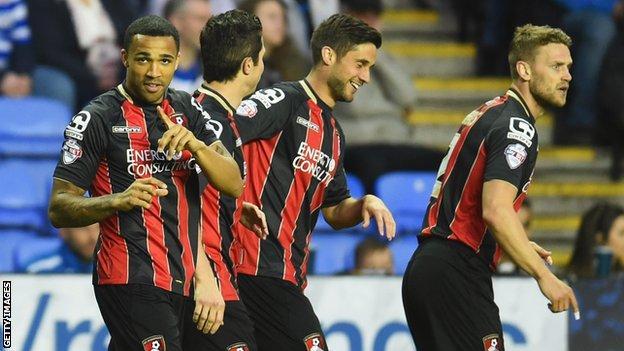 Callum Wilson (left) celebrates scoring