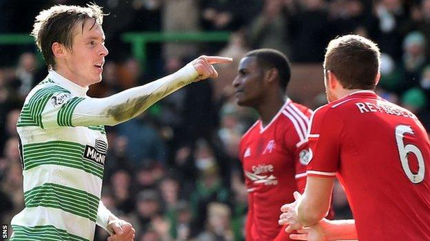Celtic's Stefan Johansen celebrates against Aberdeen