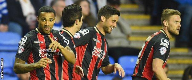 Callum Wilson (left) celebrates scoring against Reading