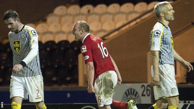 Liam Boyce celebrates as Ross County defeat St Mirren 3-0