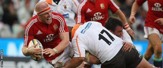WP Nel of the Cheetahs tackles British and Irish Lions captain Paul O'Connell