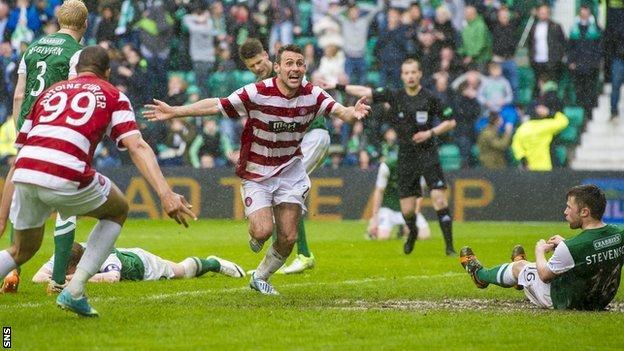 Tony Andreu's goal helped Hamilton beat Hibs in the play-offs last season