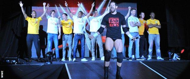 Wade Barrett and the Preston players at the WWE Live