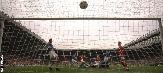 Gianluca Festa scores Middlesbrough's third goal against Chesterfield