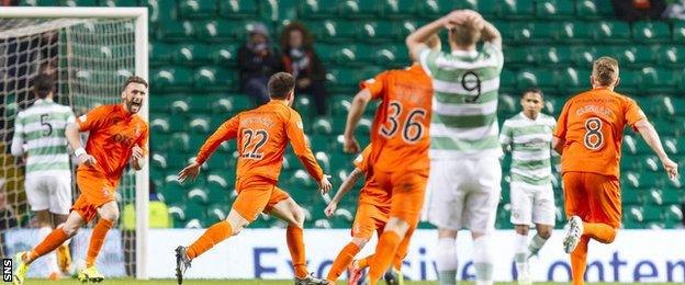Kilmarnock players celebrate after Darryl Westlake gave them the lead