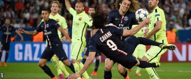 Edinson Cavani has an acrobatic effort at goal