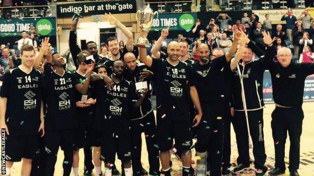 Newcastle Eagles celebrate winning the #British Basketball League title