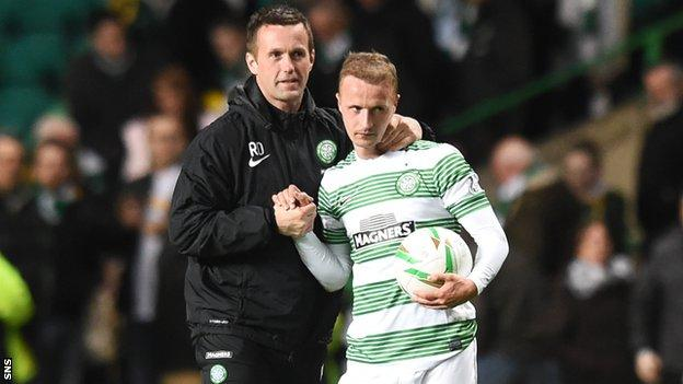 Celtic manager Ronny Deila (left) with hat-trick hero Leigh Griffiths