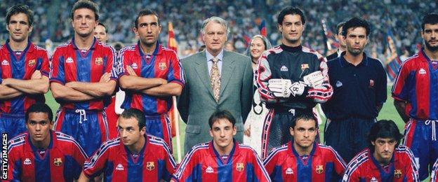 Bobby Robson (back centre) with his Barcelona players in 1996