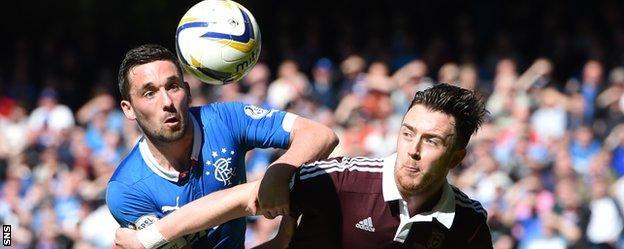 Rangers' Nicky Clark and Hearts' Danny Wilson