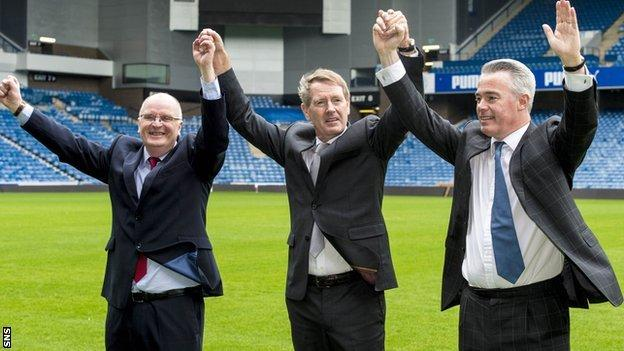 "Dave King (centre) has to fulfil the SFA's ""fit and proper"" test before taking his place on the Rangers board"