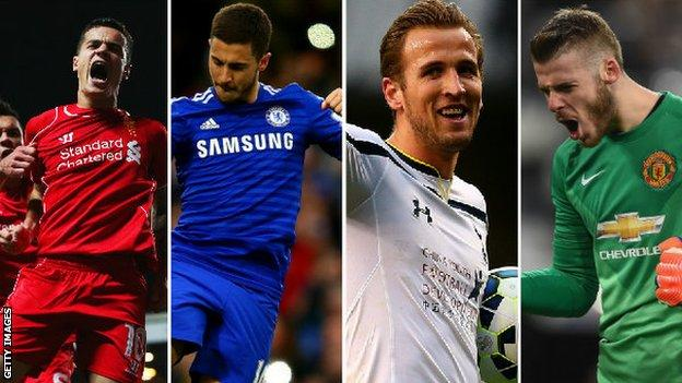 Philippe Coutinho, Eden Hazard, Harry Kane, David De Gea