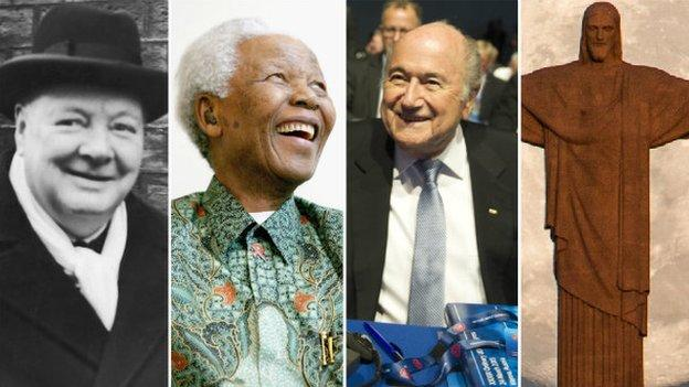 Winston Churchill, Nelson Mandela, Sepp Blatter, Jesus