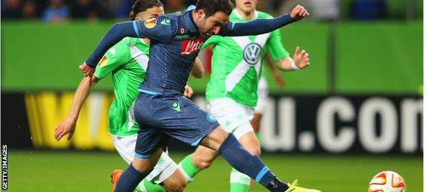 Napoli striker Gonzalo Higuain scored his 24th goal of the season to put the Italians ahead