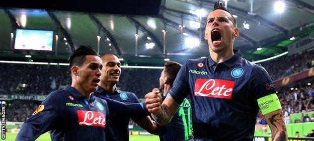 Captain Marek Hamsik scored twice for Napoli, who Diego Maradona helped to win the Uefa Cup in 1989
