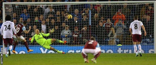 Burnley striker Danny Ings scores a penalty