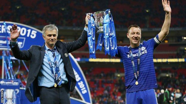Chelsea manager Jose Mourinho with skipper John Terry