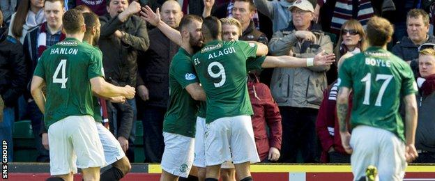 Hibernian go into the game buoyed by last weekend's 2-0 win over Edinburgh rivals Hearts