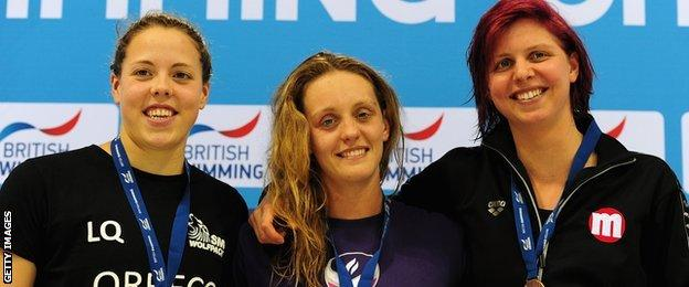 Lauren Quigley (left), Francesca Halsall (centre) and Rebecca Guy