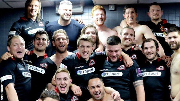 Edinburgh celebrate their 45-16 semi-final win over Newport Gwent Dragons