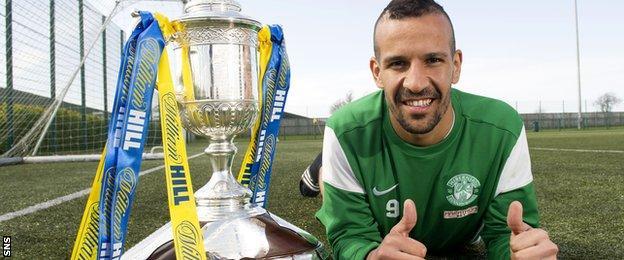 Hibernian striker Farid El Alagui with the Scottish Cup trophy
