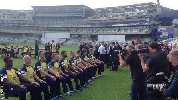 Warwickshire's players line up for their team picture at the pre-season photocall at Edgbaston, April 2015