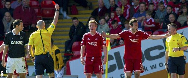 Aberdeen midfielder Barry Robson is sent off against Dundee United