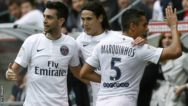 Paris St-Germain celebrate their opening goal
