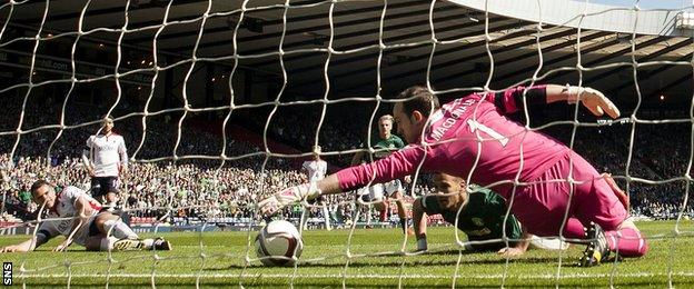 Falkirk goalkeeper Jamie MacDonald makes a save to deny Farid El Alagui