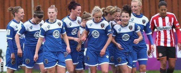 Bristol Academy celebrate goal against Sunderland