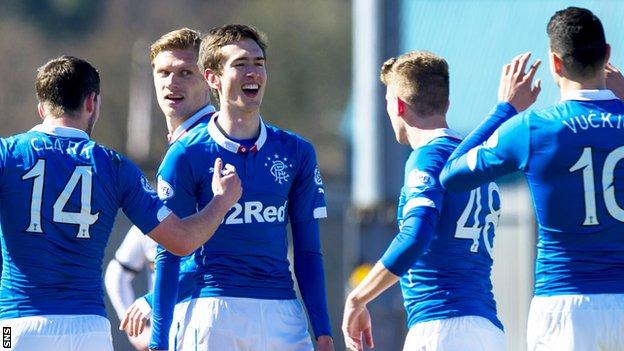 Ryan Hardie (centre) celebrates a goal for Rangers