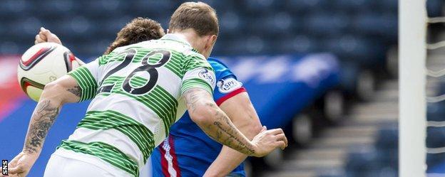 Leigh Griffiths' header strikes Josh Meekings' arm