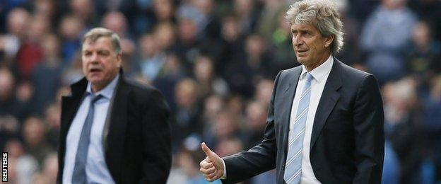 West Ham manager Sam Allardyce (left) and Man City boss Manuel Pellegrini