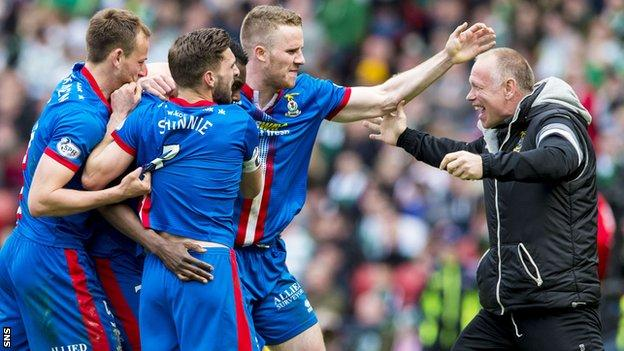 John Hughes celebrates with his Inverness Caledonian Thistle players